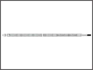 Termômetro laboratório, escala interna, capilar transparente, enchimento hg